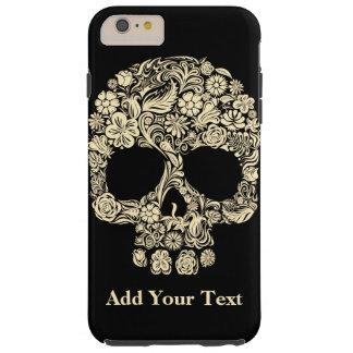 Monogram Black and White Floral Sugar Skull Tough iPhone 6 Plus Case