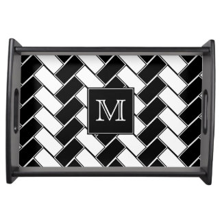 Monogram Black and White Herringbone Serving Tray