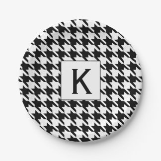Monogram Black and White Houndstooth Pattetrn 7 Inch Paper Plate