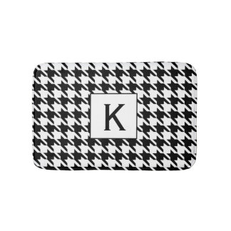Monogram Black and White Houndstooth Pattetrn Bath Mat