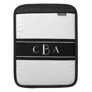 Monogram Black and White iPad Sleeves