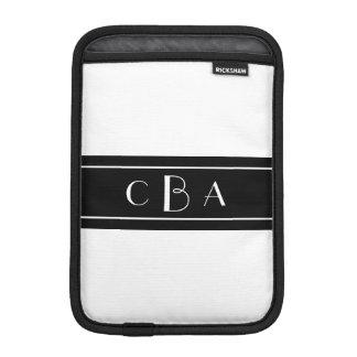 Monogram Black and White iPad Mini Sleeves