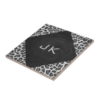 Monogram Black and White Leopard Print Small Square Tile