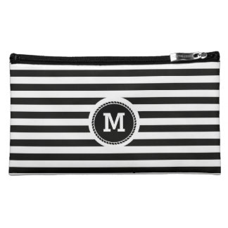 Monogram. Black and White Nautical Theme. Cosmetic Bag