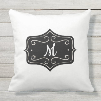 Monogram Black and White Outdoor Pillow