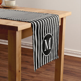 Monogram Black And White Pin Stripes Pattern Short Table Runner