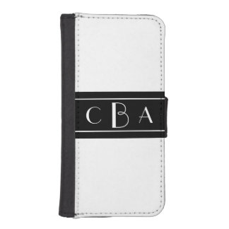 Monogram Black and White Phone Wallet Cases