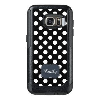 Monogram Black and White Polka Dot Pattern Stylish OtterBox Samsung Galaxy S7 Case