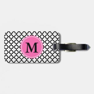 Monogram Black and White Quatrefoil Luggage Tag