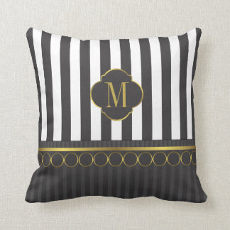 Monogram Black and white stripes with gold Cushion