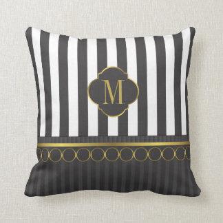 Monogram Black and white stripes with gold Throw Pillow