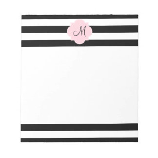 Monogram Black and White Stripes with Pastel Pink Notepad