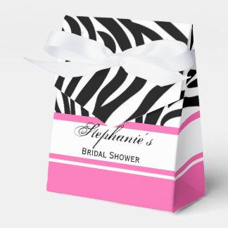 Monogram Black and White Zebra Print and Hot Pink Wedding Favour Box