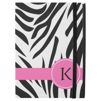 Monogram Black and White Zebra Print with Hot Pink