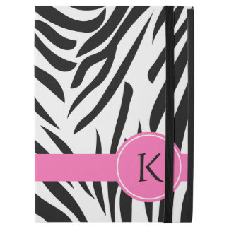"Monogram Black and White Zebra Print with Hot Pink iPad Pro 12.9"" Case"