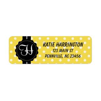 Monogram Black and Yellow Return Address Labels