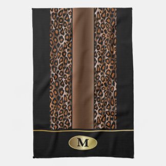 Monogram Black, Brown and Gold Jaguar Animal Print Tea Towel