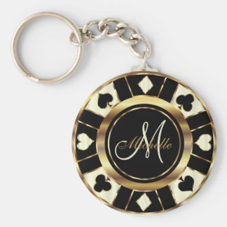 Monogram Black, Cream and Gold Las Vegas Style Key Ring