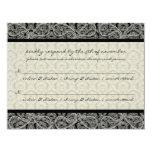 Monogram Black Damask Wedding Response RSVP 11 Cm X 14 Cm Invitation Card