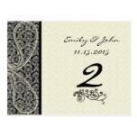 Monogram Black Damask Wedding Table Number Cards