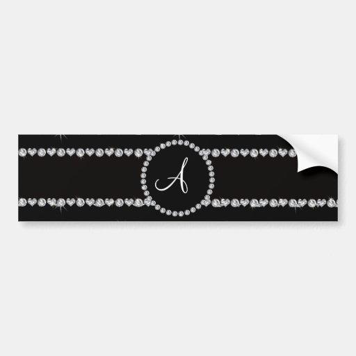 Monogram black diamond hearts stripes bumper stickers