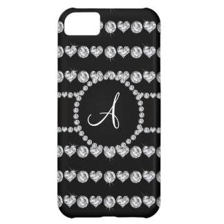 Monogram black diamond hearts stripes iPhone 5C covers