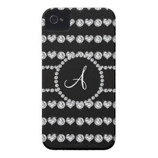Monogram black diamond hearts stripes Case-Mate iPhone 4 cases