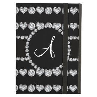 Monogram black diamond hearts stripes iPad air case