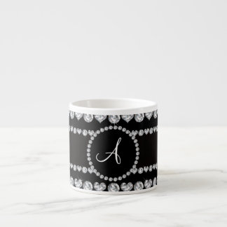 Monogram black diamond hearts stripes 6 oz ceramic espresso cup