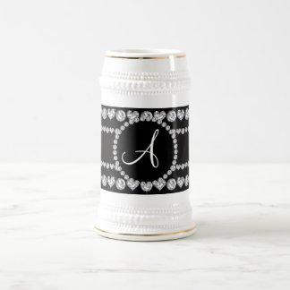 Monogram black diamond hearts stripes coffee mug