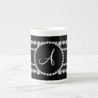 Monogram black diamond hearts stripes porcelain mug