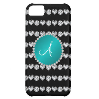 Monogram black diamond hearts stripes turquoise iPhone 5C covers