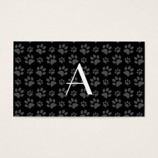 Monogram black dog paw prints