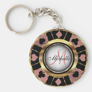 Monogram Black, Dusty Rose & Gold Las Vegas Style Key Ring