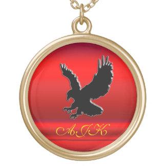 Monogram, Black Eagle logo on red chrome-effect Round Pendant Necklace