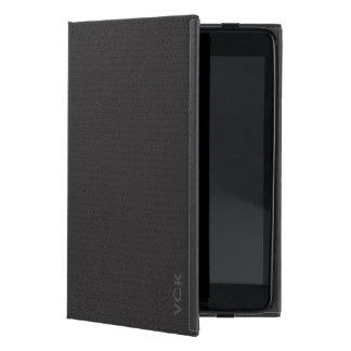 Monogram Black Faux Leather Vintage Look Covers For iPad Mini