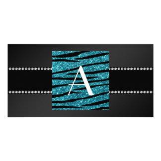 Monogram black glitter zebra stripes photo cards