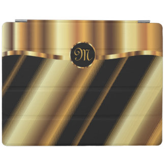 Monogram Black & Gold Diagonal Stripes iPad Cover