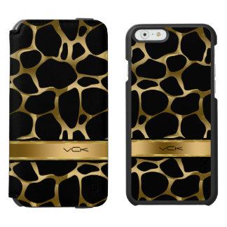 Monogram Black & Gold Leopard Print Incipio Watson™ iPhone 6 Wallet Case