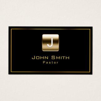 Monogram Black & Gold Pastor Business Card