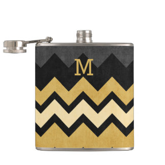 Monogram Black Gray Gold Chevron Pattern Flask