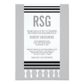 Monogram Black Gray Tallit Bar Mitzvah Reception Card