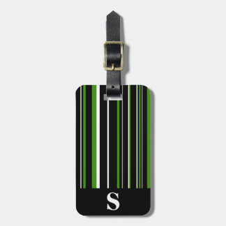 Monogram Black, Green, White Barcode Stripe Bag Tag