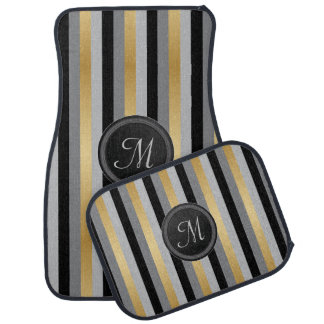 Monogram Black, Grey and Gold Stripes Floor Mat