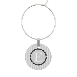 Monogram Black Grey White Scalloped Stripes Wine Charm