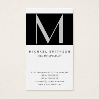Monogram Black Grey White Simple Business Card