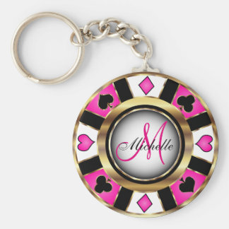 Monogram Black, Hot Pink and Gold Las Vegas Style Key Ring
