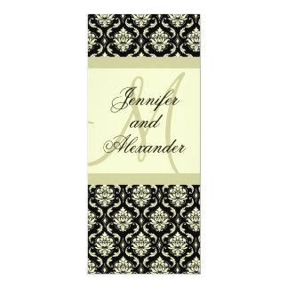 Monogram Black Ivory Damask Wedding Invitation