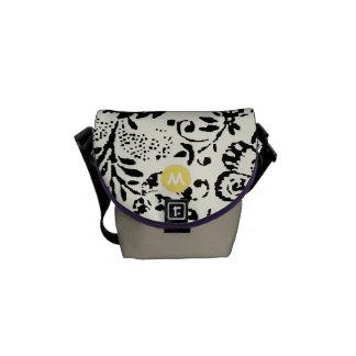 Monogram Black Ivory Yellow Vintage Floral Pattern Messenger Bags