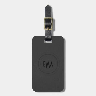 Monogram Black Leather Look Luggage Tag
